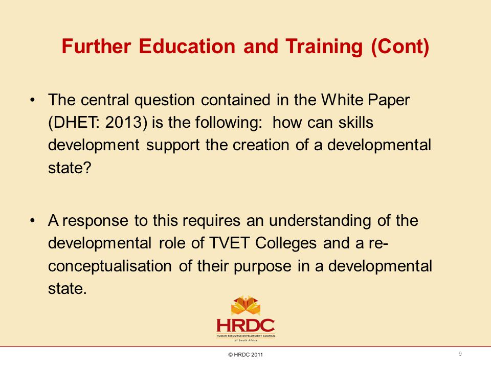 Further Education and Training (Cont)