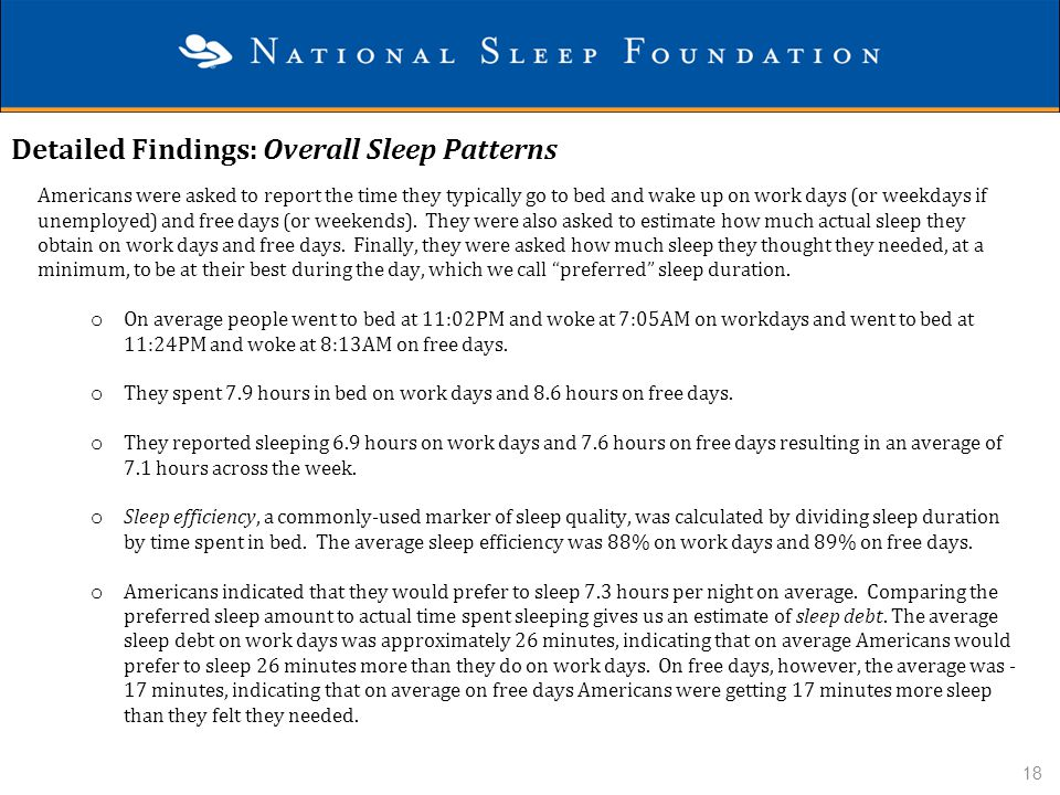 Detailed Findings: Overall Sleep Patterns