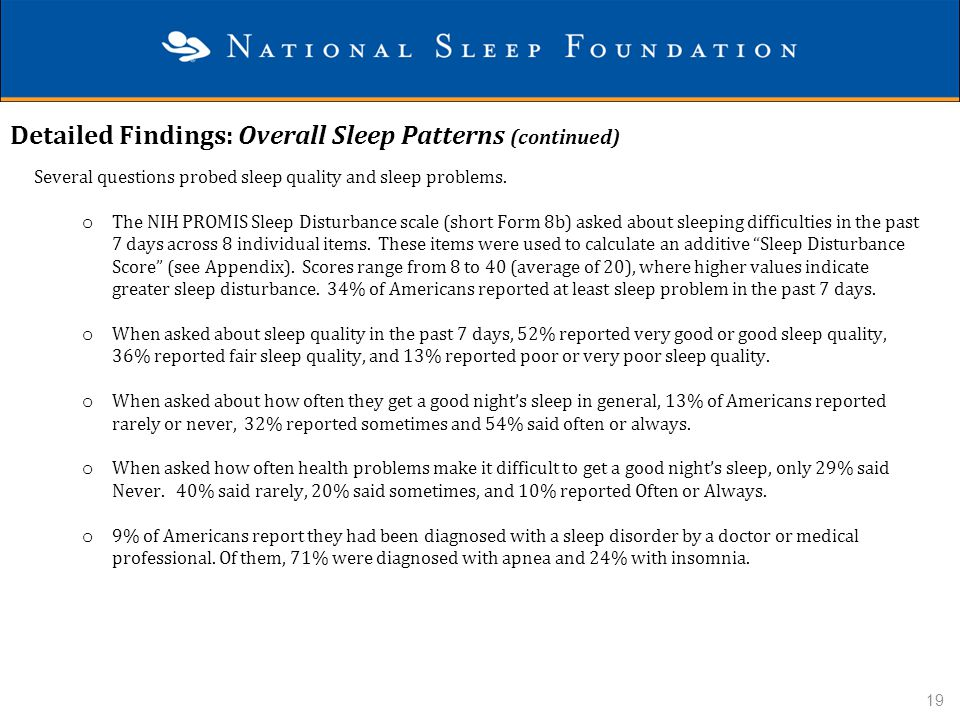 Detailed Findings: Overall Sleep Patterns (continued)