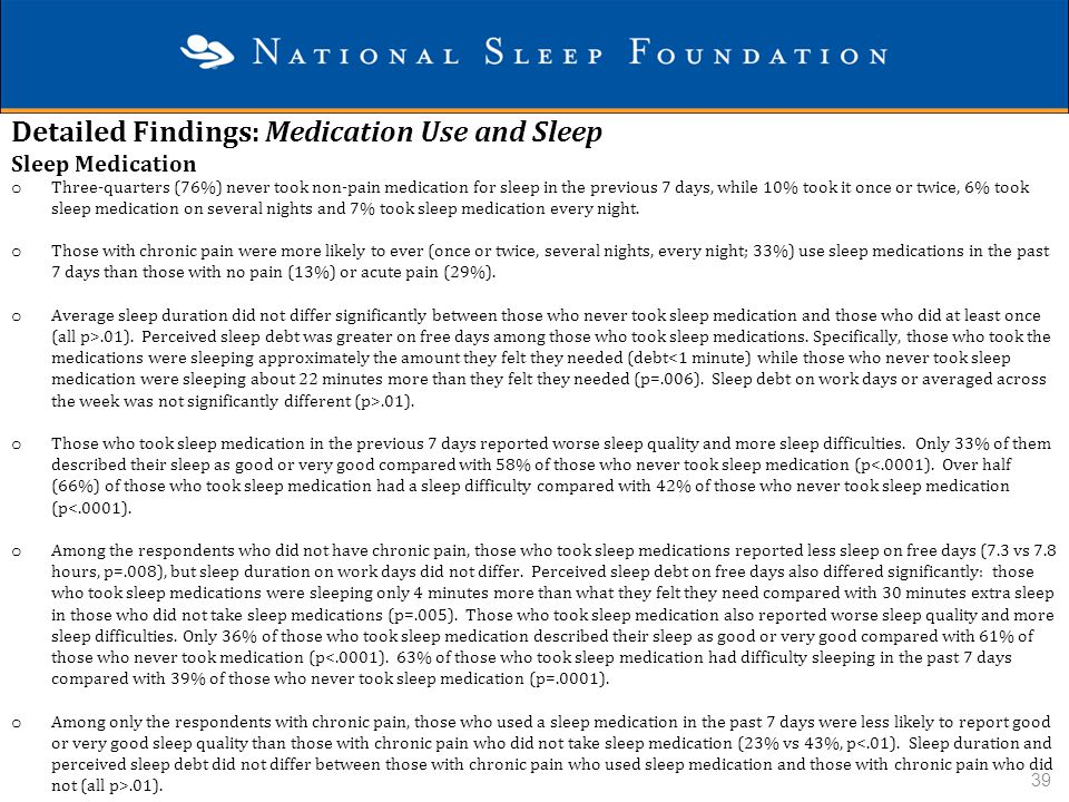 Detailed Findings: Medication Use and Sleep Sleep Medication