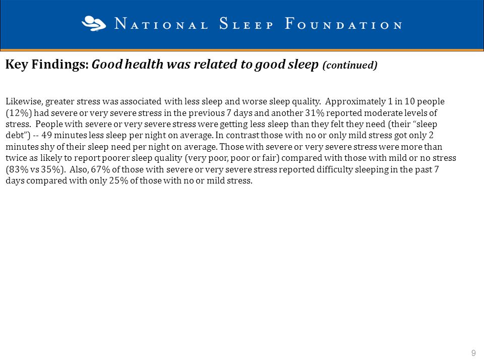 Key Findings: Good health was related to good sleep (continued)
