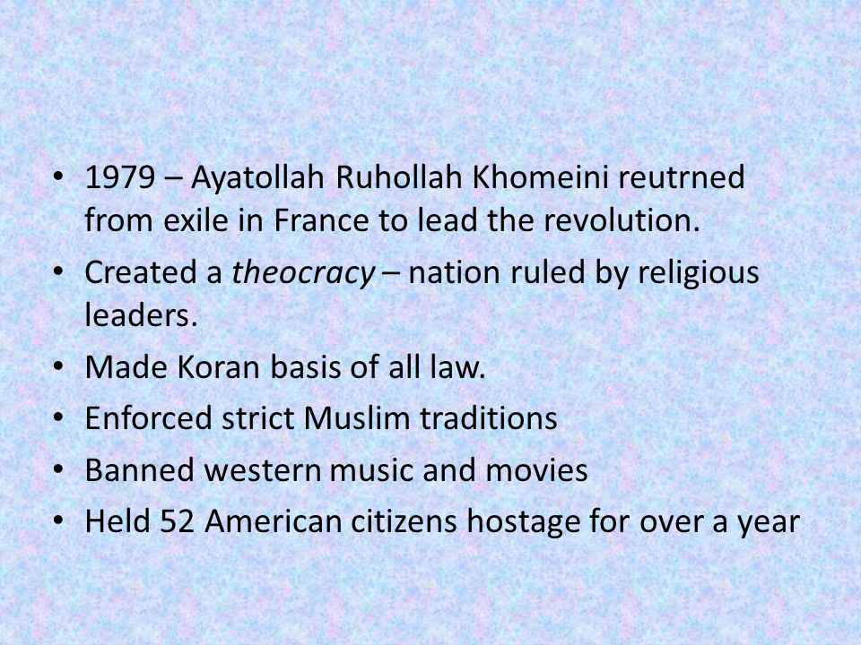 1979 – Ayatollah Ruhollah Khomeini reutrned from exile in France to lead the revolution.