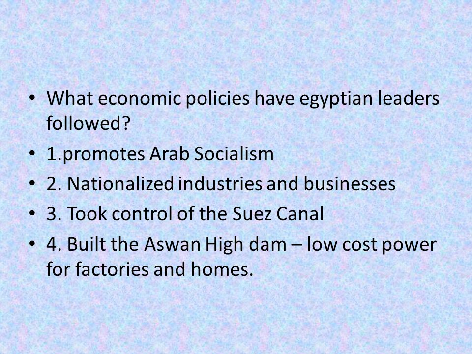 What economic policies have egyptian leaders followed