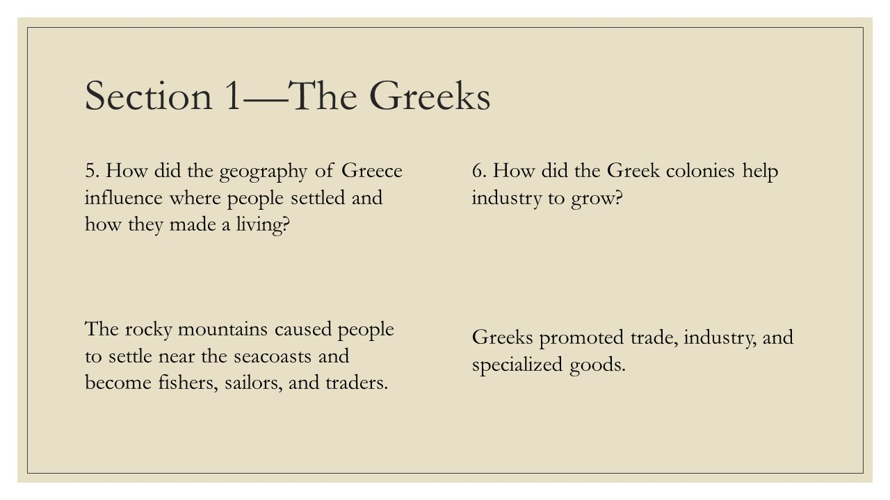 Section 1—The Greeks