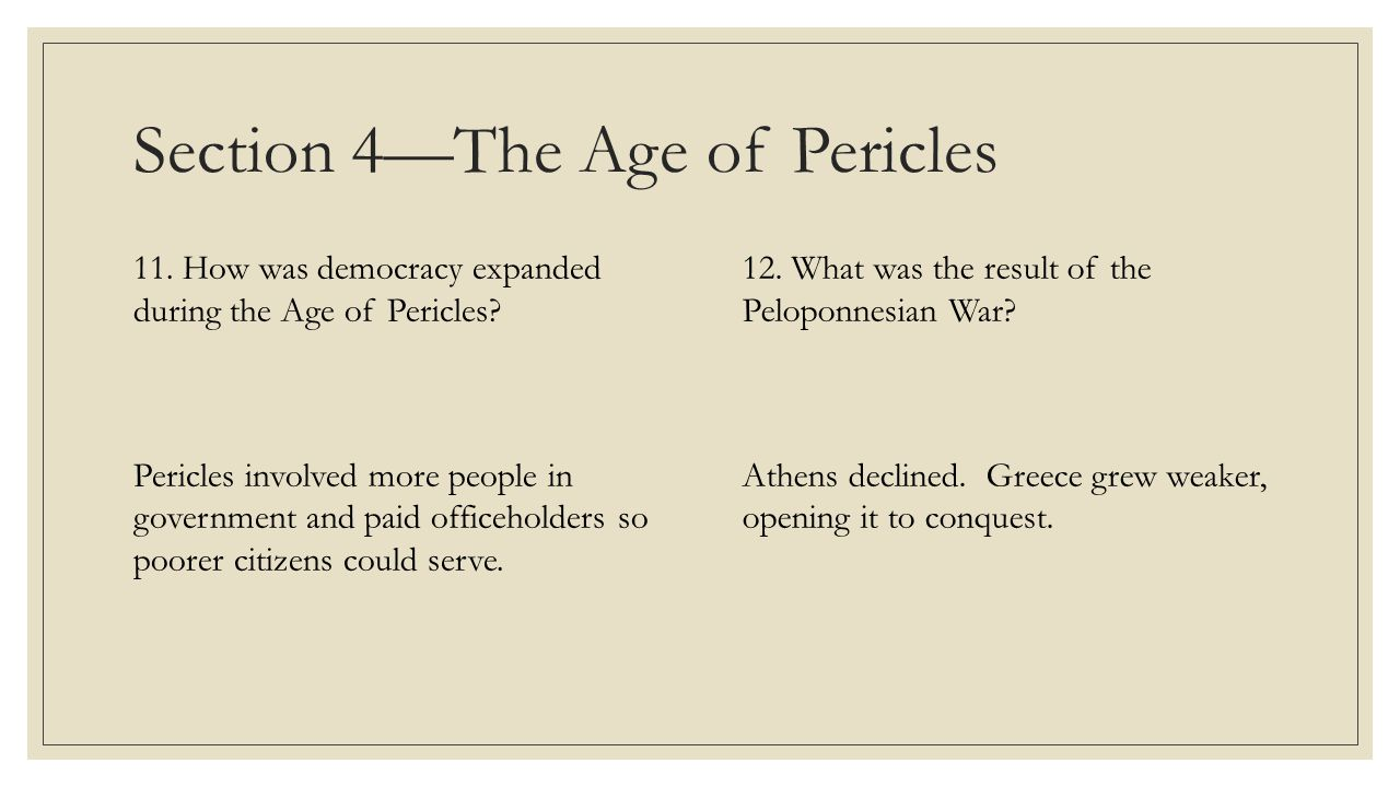 Section 4—The Age of Pericles