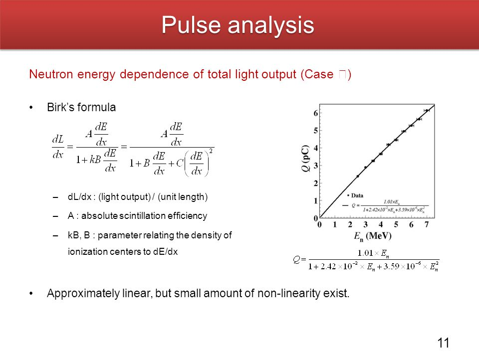 Pulse analysis Neutron energy dependence of total light output (Case Ⅰ) Birk's formula. dL/dx : (light output) / (unit length)