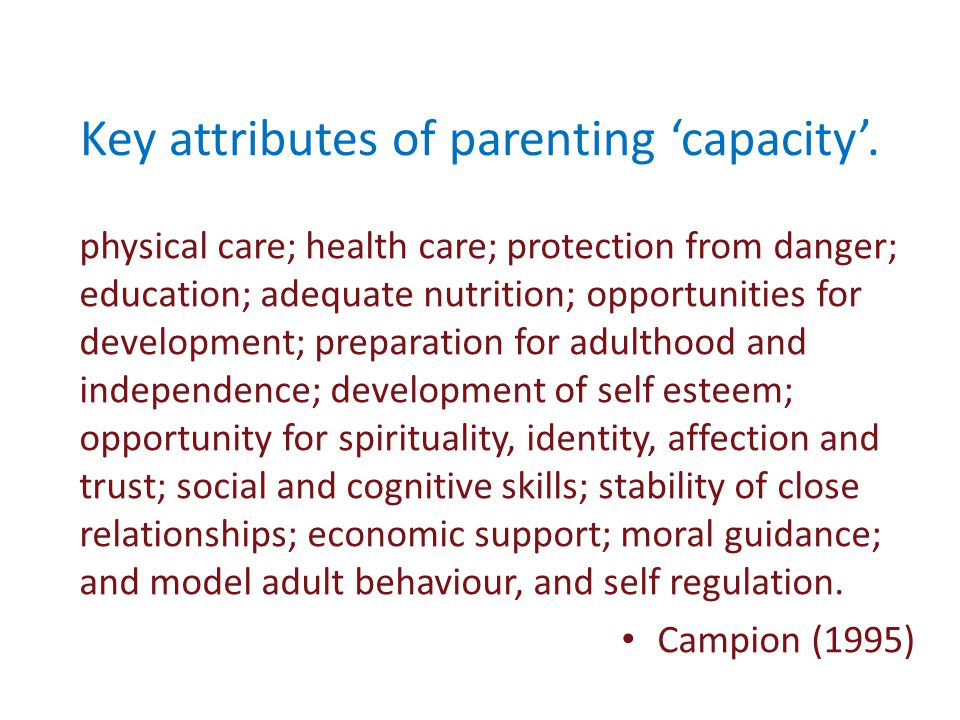 Key attributes of parenting 'capacity'.