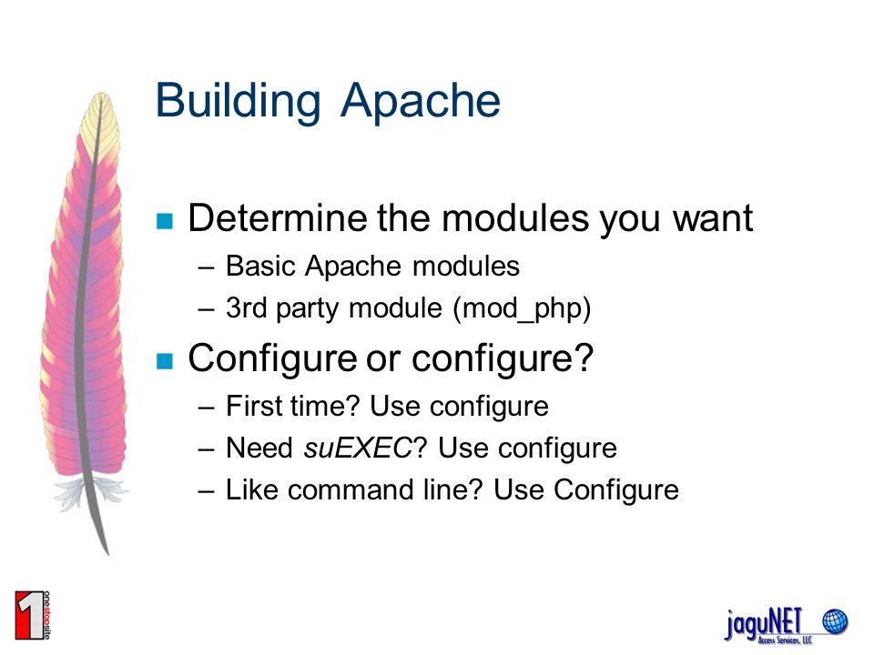Building Apache Determine the modules you want Configure or configure