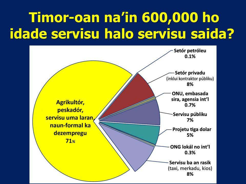Timor-oan na'in 600,000 ho idade servisu halo servisu saida