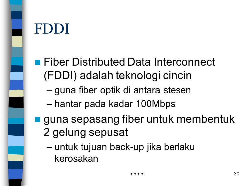 FDDI Fiber Distributed Data Interconnect (FDDI) adalah teknologi cincin. guna fiber optik di antara stesen.