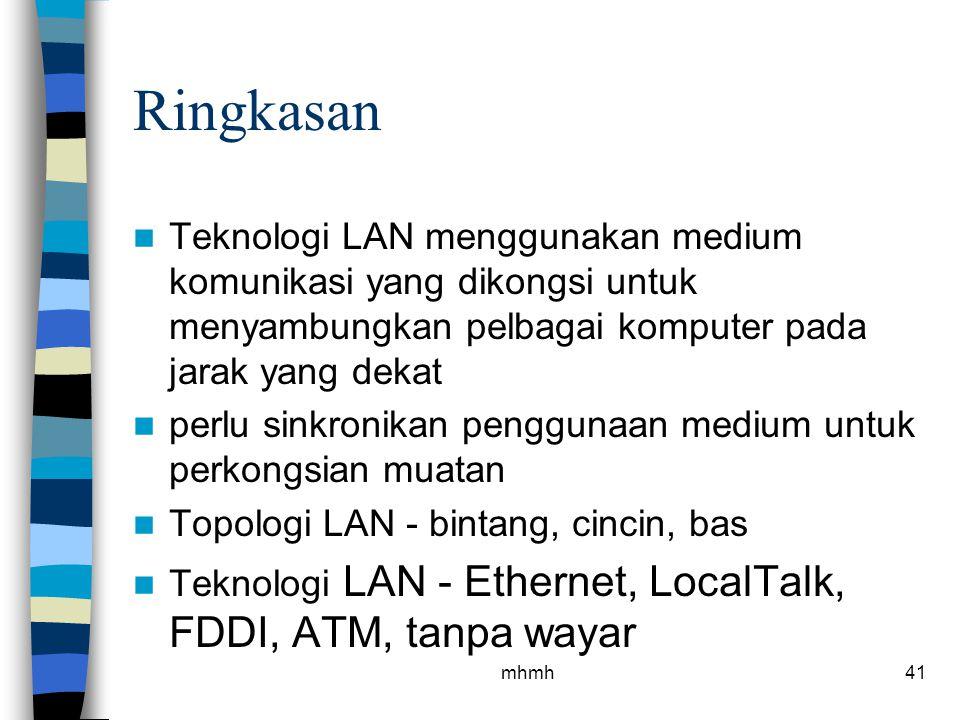 Ringkasan Teknologi LAN menggunakan medium komunikasi yang dikongsi untuk menyambungkan pelbagai komputer pada jarak yang dekat.