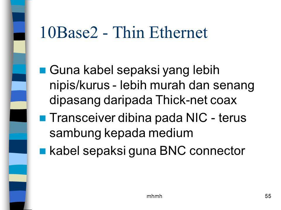 10Base2 - Thin Ethernet Guna kabel sepaksi yang lebih nipis/kurus - lebih murah dan senang dipasang daripada Thick-net coax.