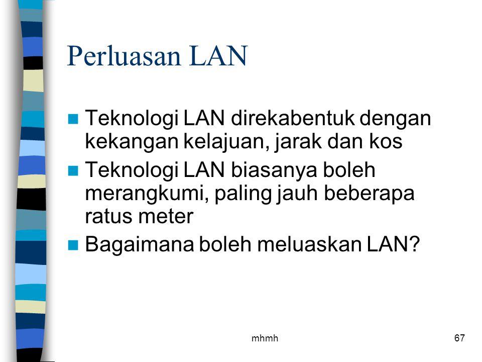 Perluasan LAN Teknologi LAN direkabentuk dengan kekangan kelajuan, jarak dan kos.