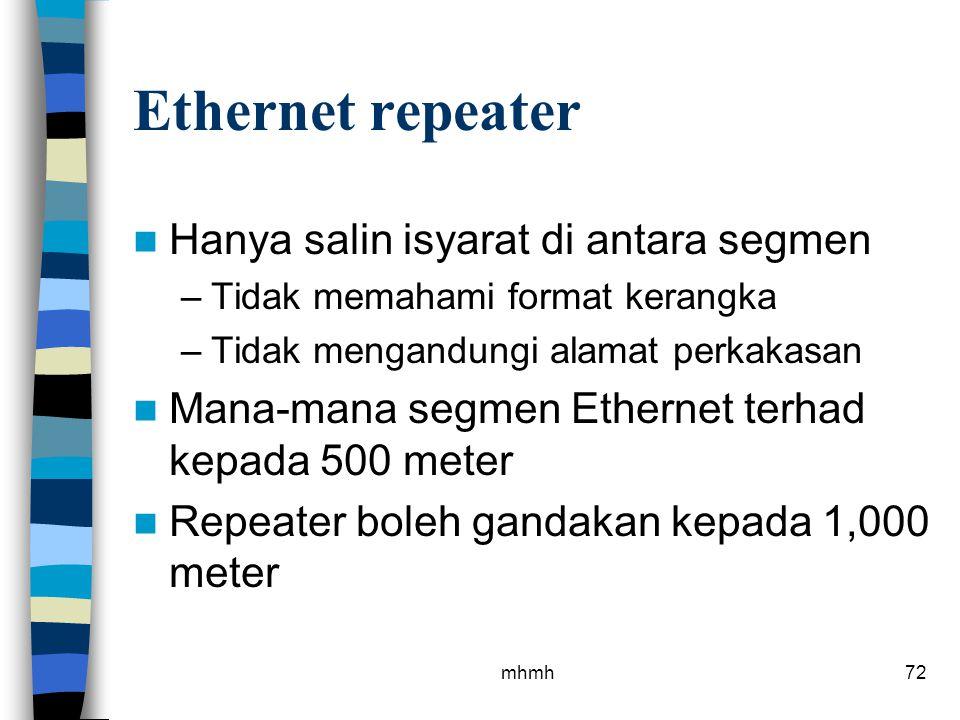 Ethernet repeater Hanya salin isyarat di antara segmen