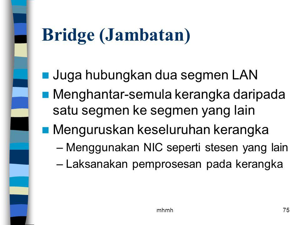 Bridge (Jambatan) Juga hubungkan dua segmen LAN