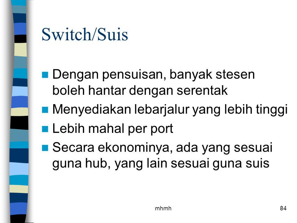 Switch/Suis Dengan pensuisan, banyak stesen boleh hantar dengan serentak. Menyediakan lebarjalur yang lebih tinggi.