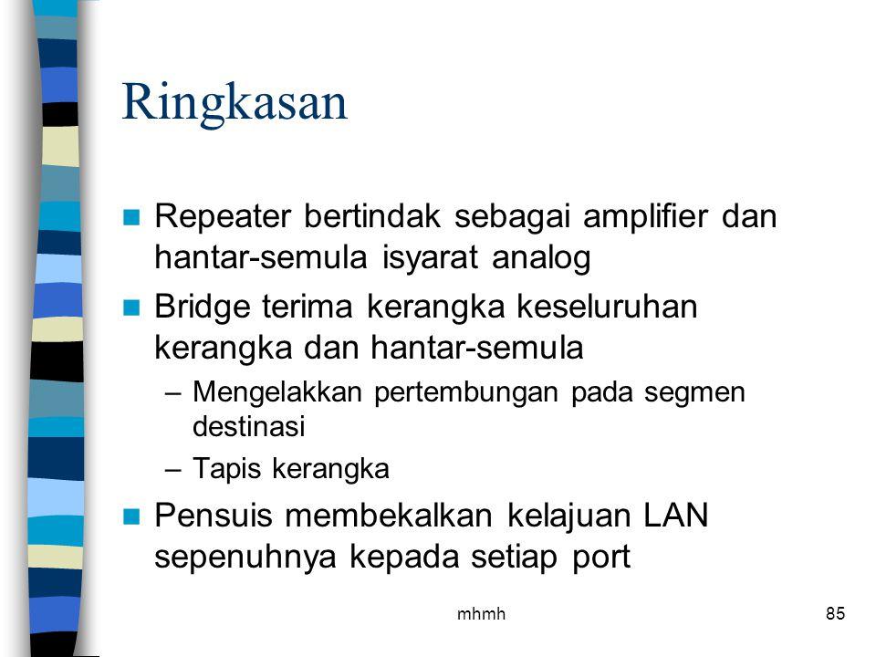 Ringkasan Repeater bertindak sebagai amplifier dan hantar-semula isyarat analog. Bridge terima kerangka keseluruhan kerangka dan hantar-semula.