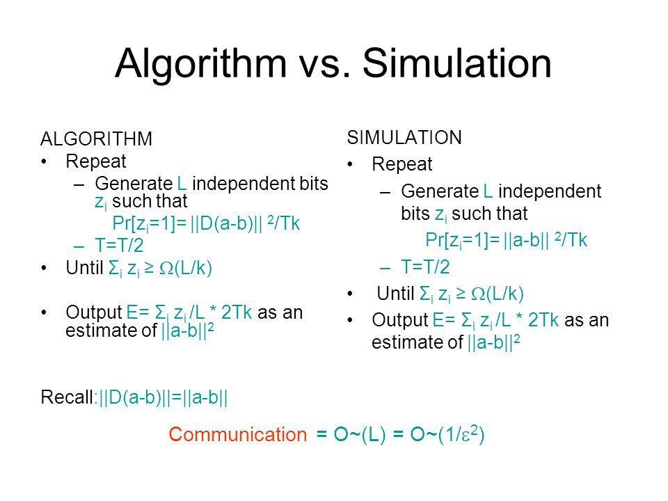 Algorithm vs. Simulation