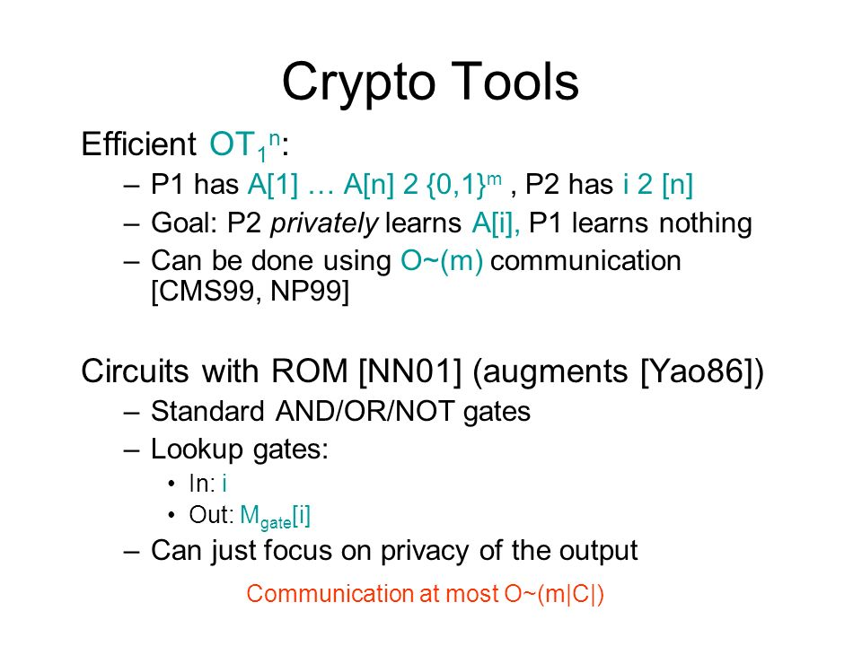 Crypto Tools Efficient OT1n: