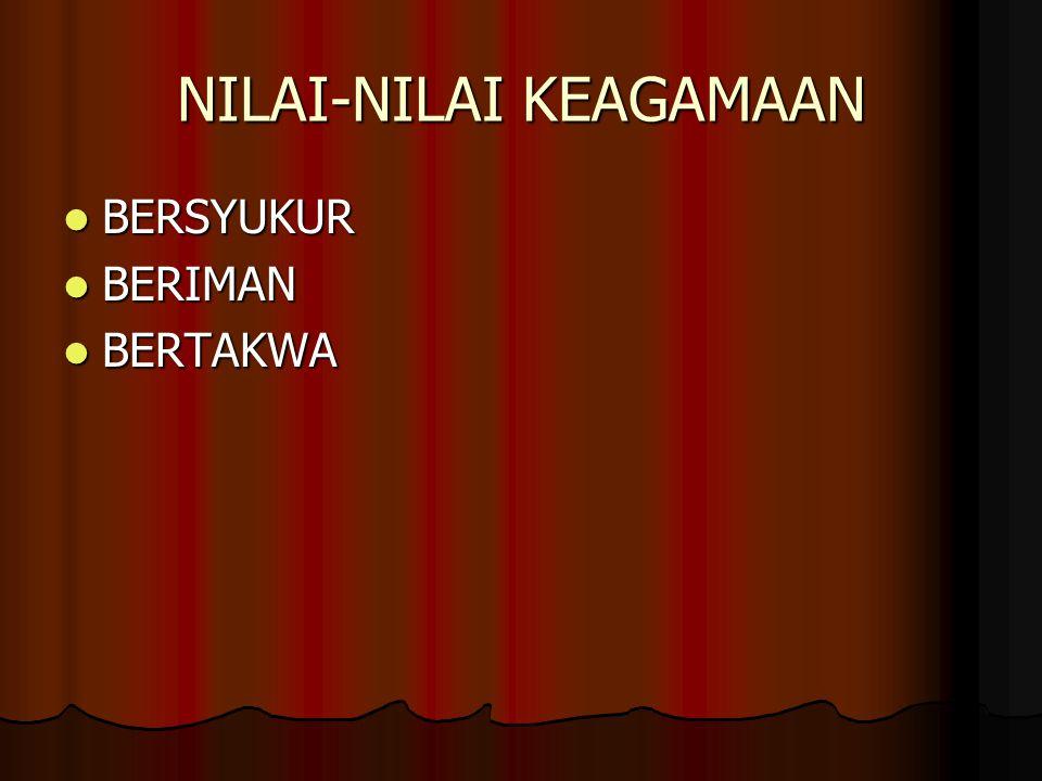 NILAI-NILAI KEAGAMAAN