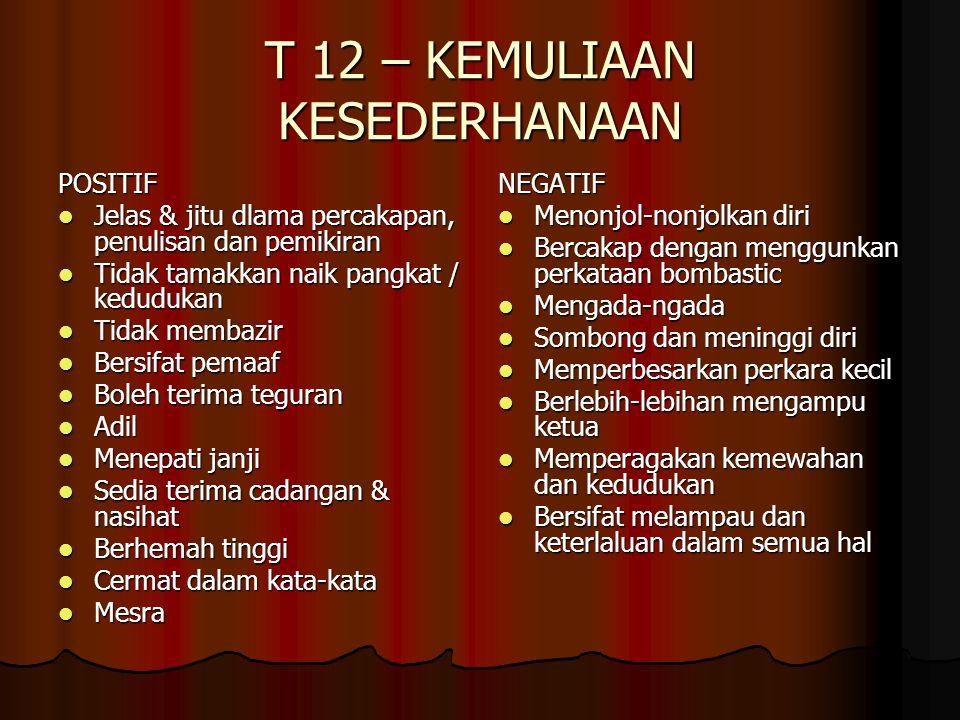 T 12 – KEMULIAAN KESEDERHANAAN