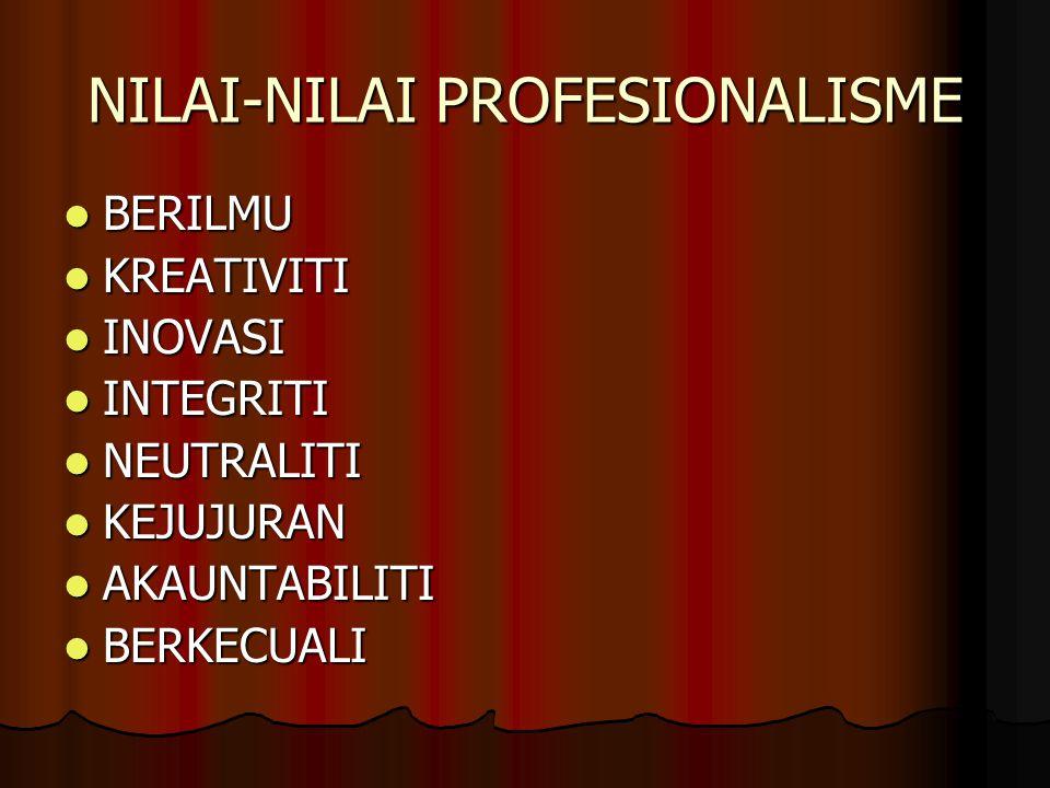 NILAI-NILAI PROFESIONALISME