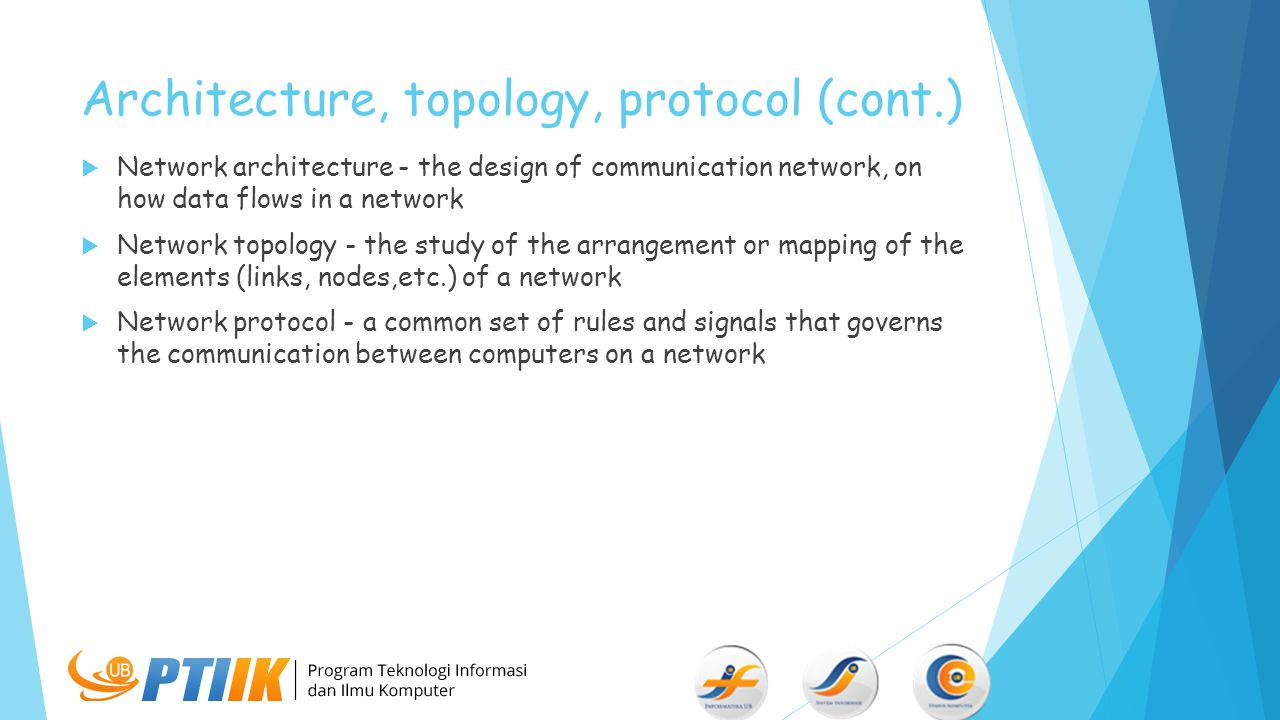 Architecture, topology, protocol (cont.)