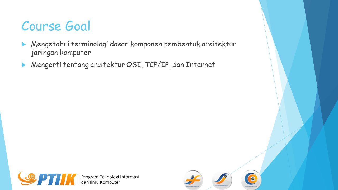 Course Goal Mengetahui terminologi dasar komponen pembentuk arsitektur jaringan komputer.