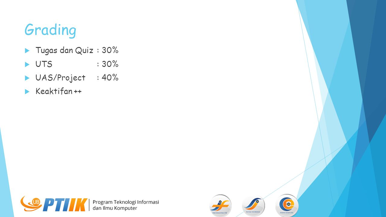 Grading Tugas dan Quiz : 30% UTS : 30% UAS/Project : 40% Keaktifan ++