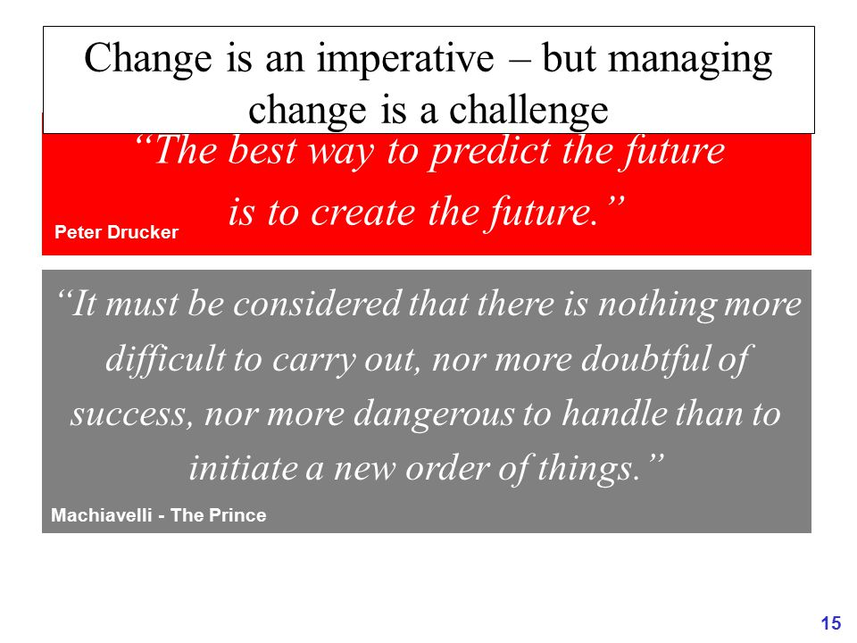Change is an imperative – but managing change is a challenge