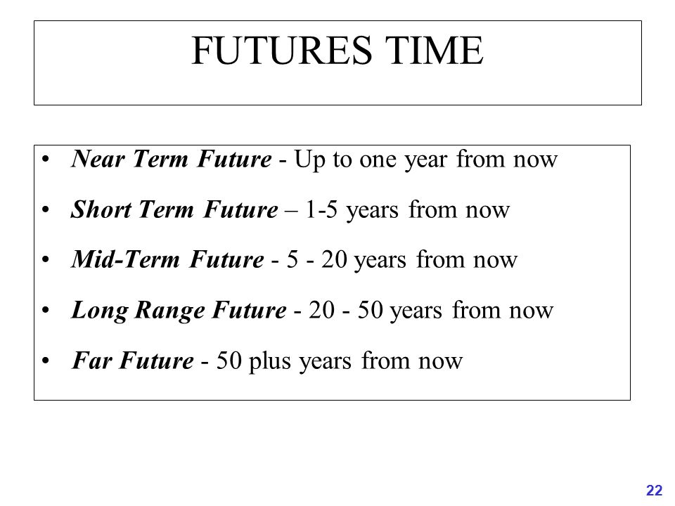 FUTURES TIME Near Term Future - Up to one year from now