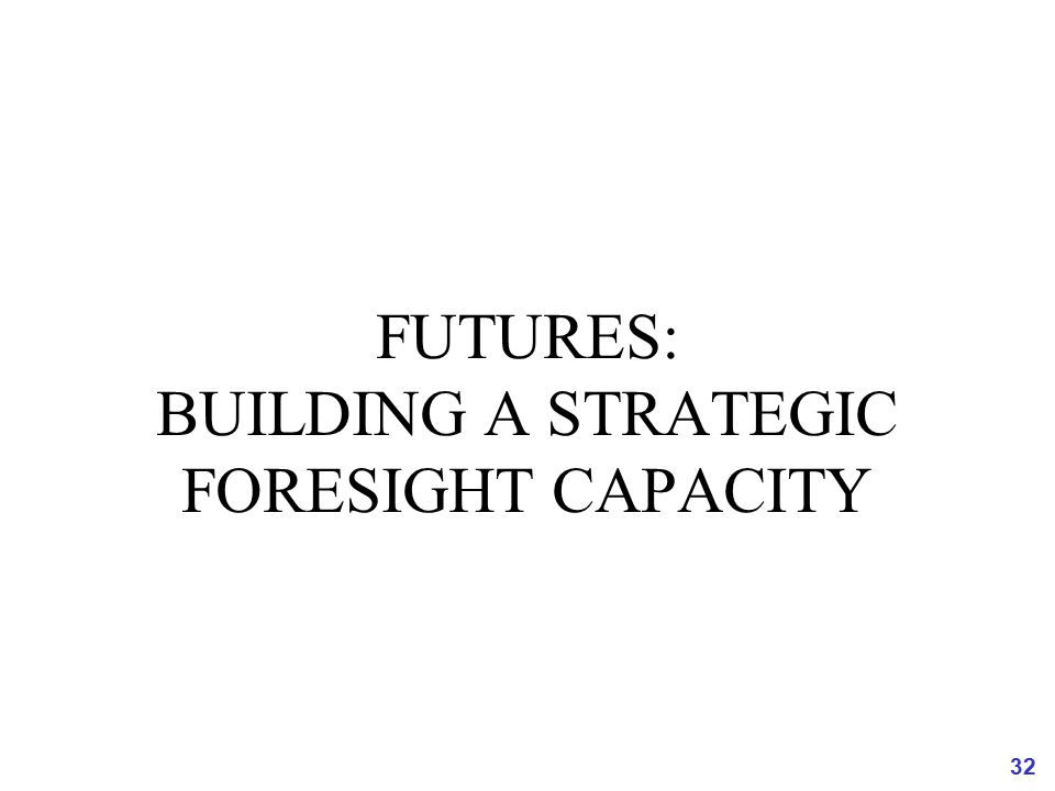 FUTURES: BUILDING A STRATEGIC FORESIGHT CAPACITY