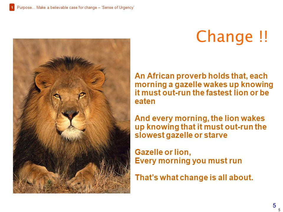 1 Purpose… Make a believable case for change – 'Sense of Urgency' Change !!