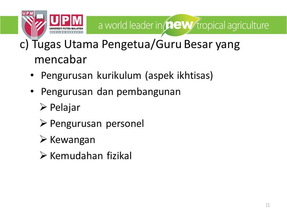 c) Tugas Utama Pengetua/Guru Besar yang mencabar