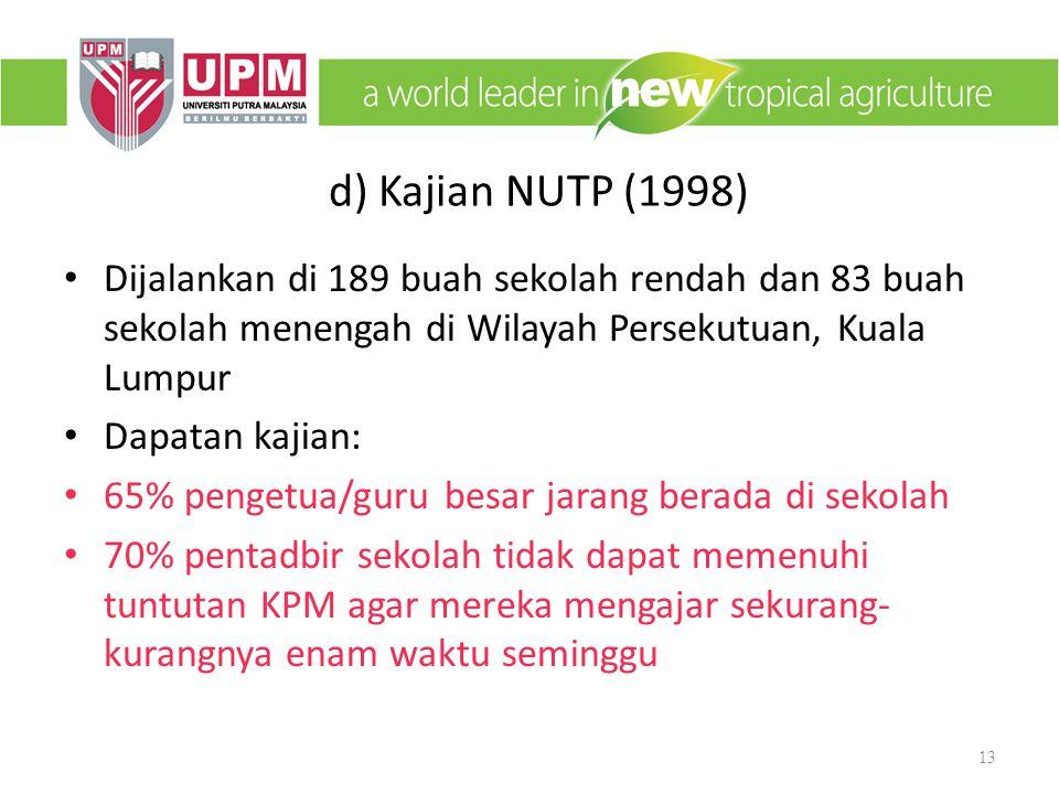 d) Kajian NUTP (1998) Dijalankan di 189 buah sekolah rendah dan 83 buah sekolah menengah di Wilayah Persekutuan, Kuala Lumpur.