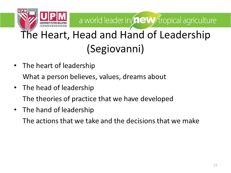 The Heart, Head and Hand of Leadership (Segiovanni)