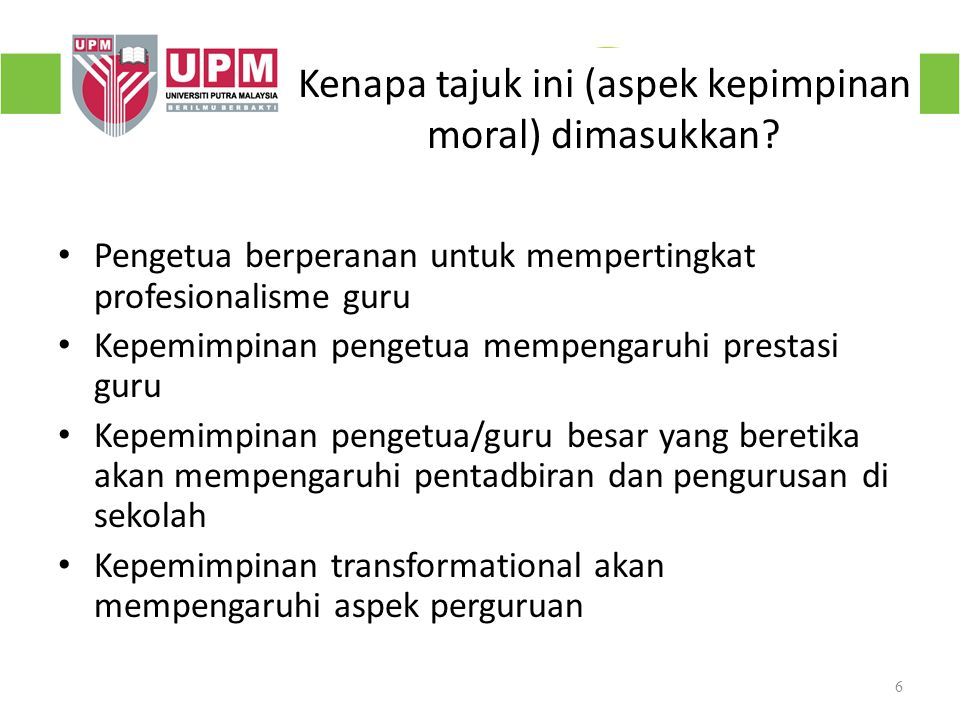 Kenapa tajuk ini (aspek kepimpinan moral) dimasukkan