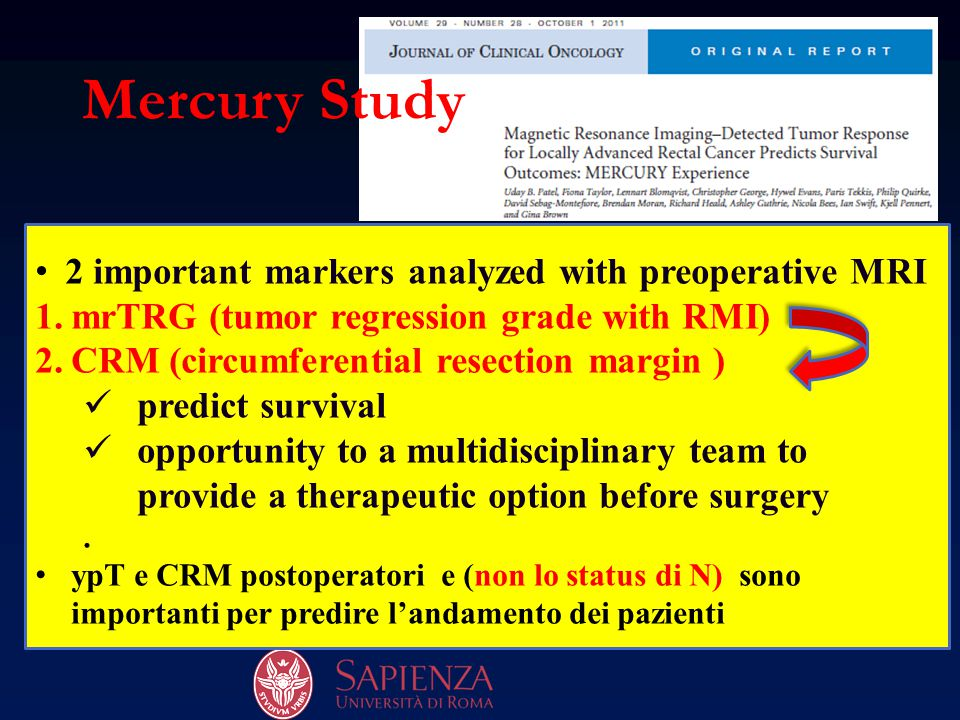 Mercury Study 2 important markers analyzed with preoperative MRI