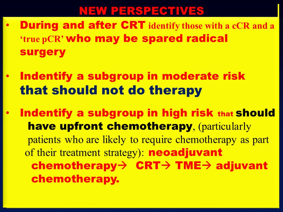 NEW PERSPECTIVES During and after CRT identify those with a cCR and a 'true pCR' who may be spared radical surgery.