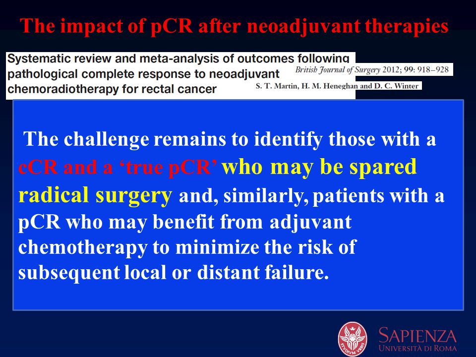 The impact of pCR after neoadjuvant therapies