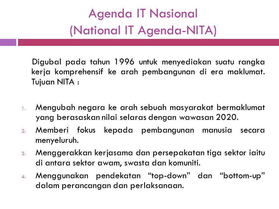 Agenda IT Nasional (National IT Agenda-NITA)