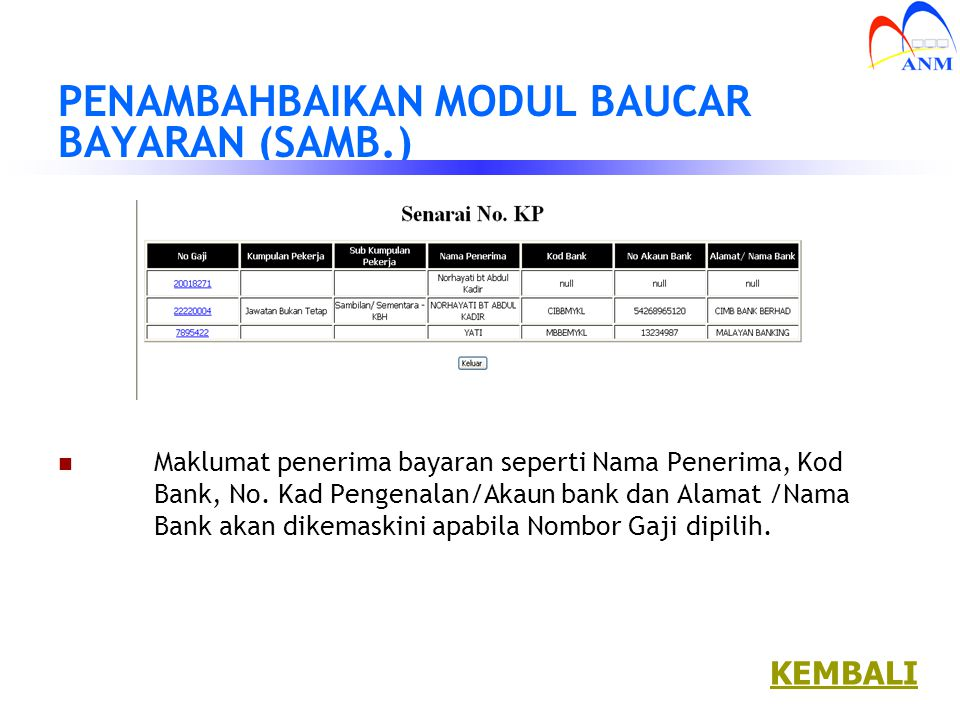 PENAMBAHBAIKAN MODUL BAUCAR BAYARAN (SAMB.)