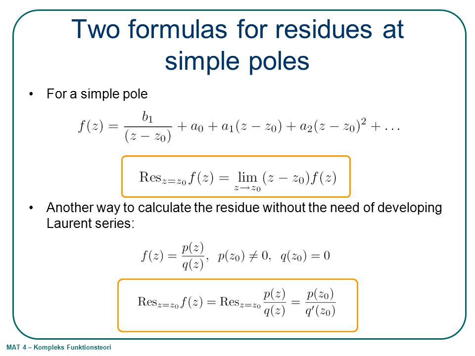Two formulas for residues at simple poles