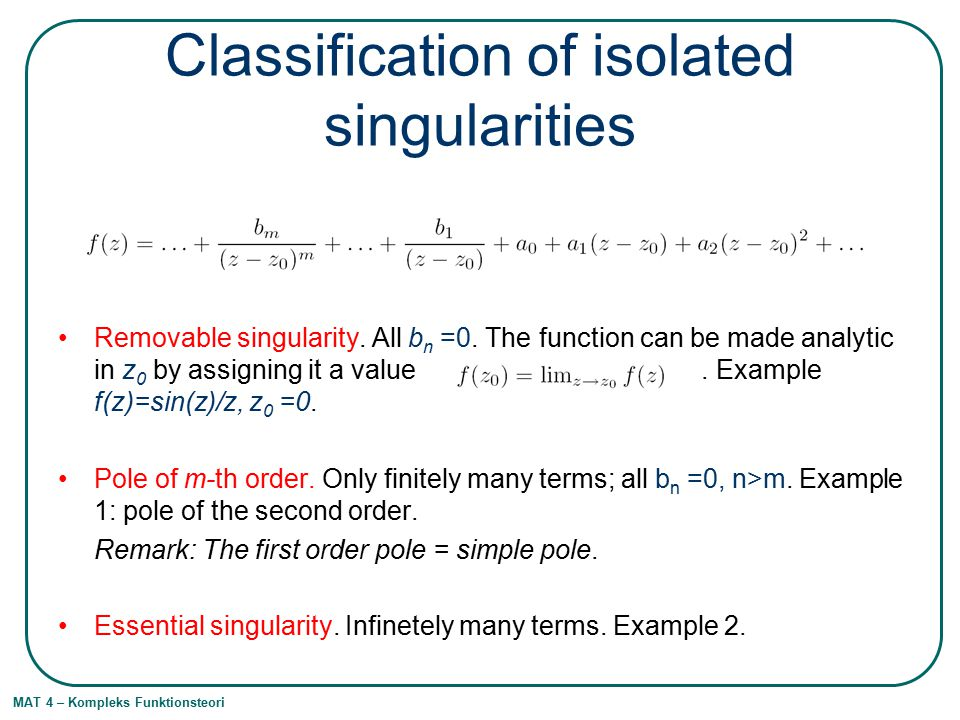 Classification of isolated singularities