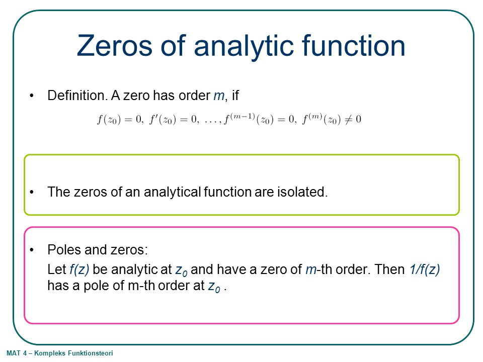 Zeros of analytic function