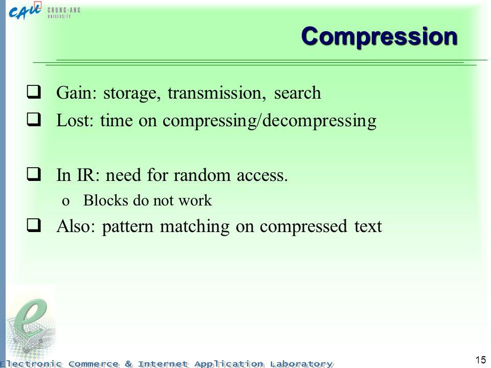 Compression Gain: storage, transmission, search