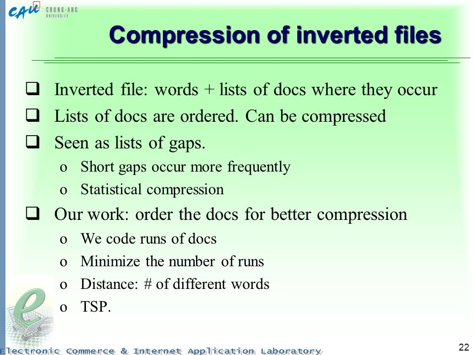 Compression of inverted files