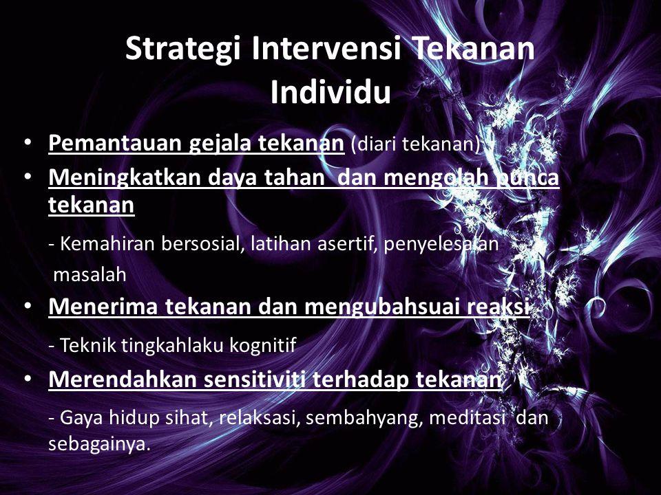 Strategi Intervensi Tekanan Individu