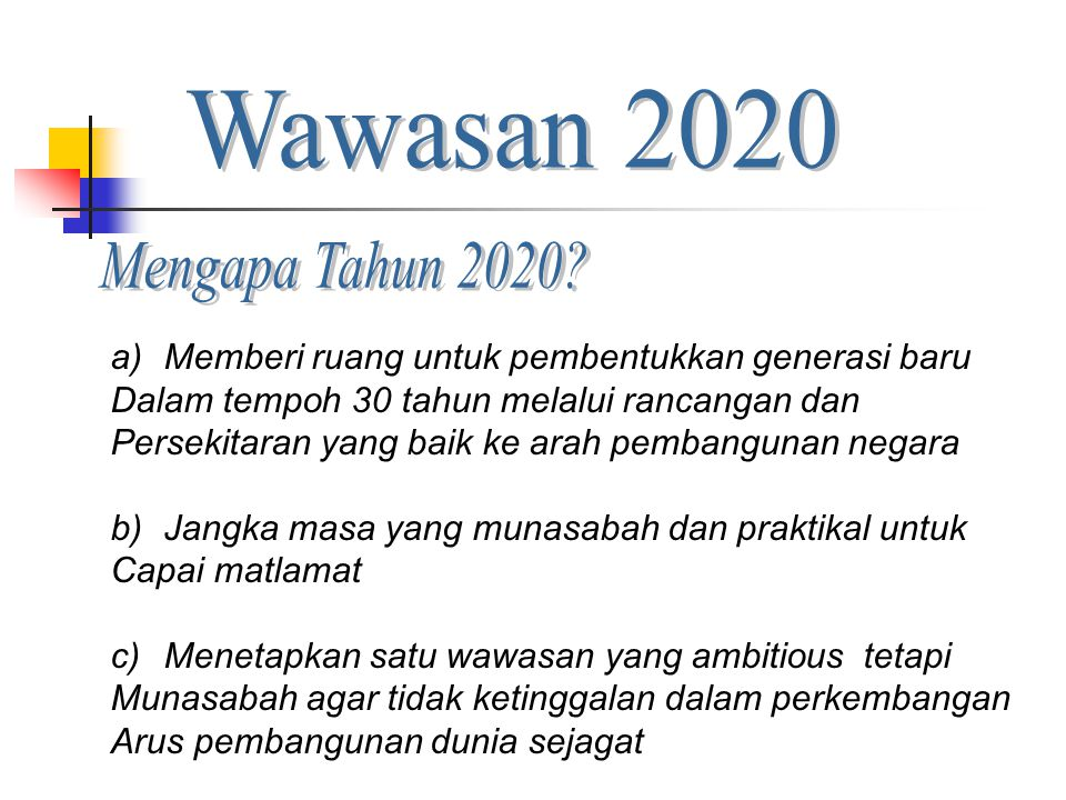 Wawasan 2020 Mengapa Tahun 2020 Memberi ruang untuk pembentukkan generasi baru. Dalam tempoh 30 tahun melalui rancangan dan.
