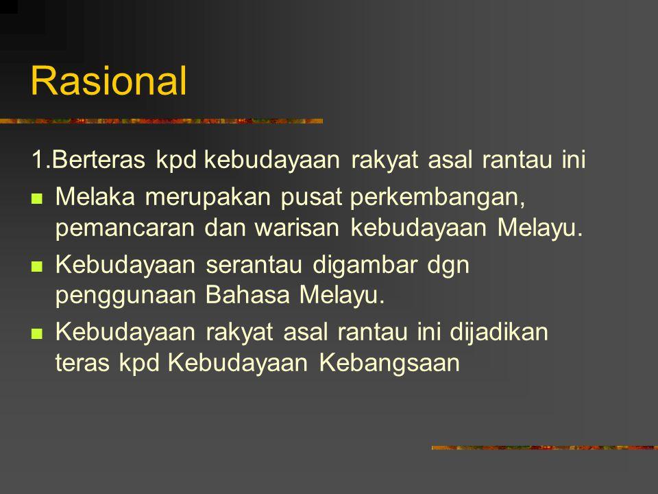 Rasional 1.Berteras kpd kebudayaan rakyat asal rantau ini